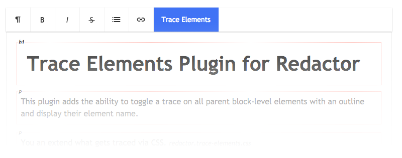 Trace Elements Plugin for Redactor